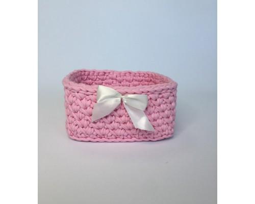 Корзинка квадратная Pink с бантиком